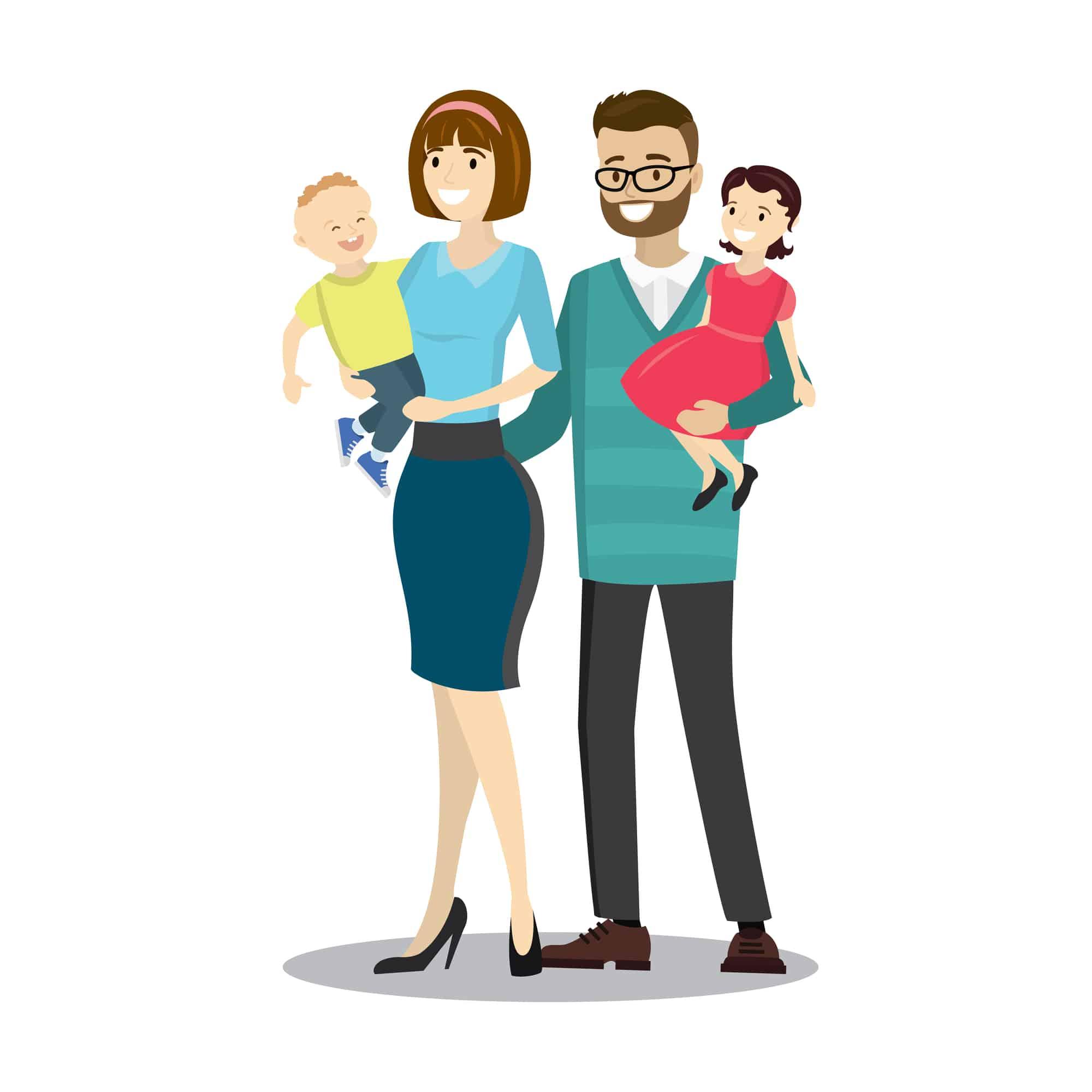 Dibujo de familia nuclear: padre, madre e hijos