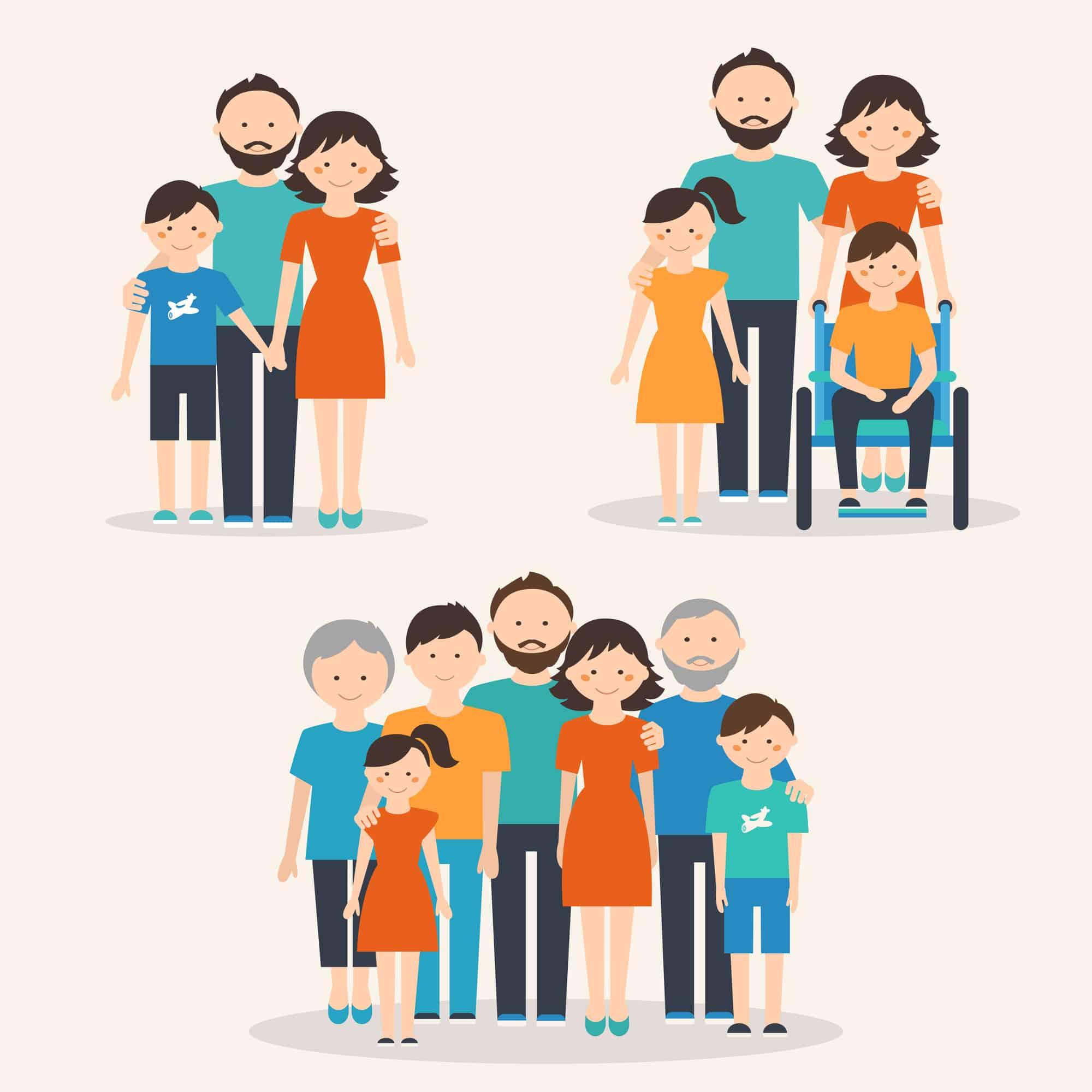 Dibujo de familia extensa: hijos, padres y abuelos
