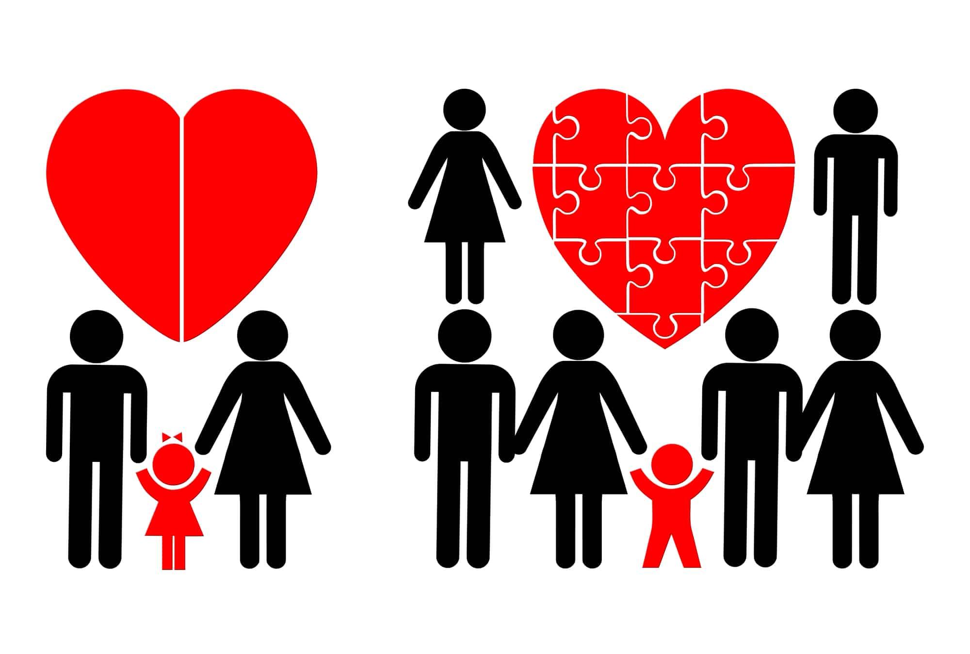 Dibujo de familia mezclada, reconstituida o compuesta